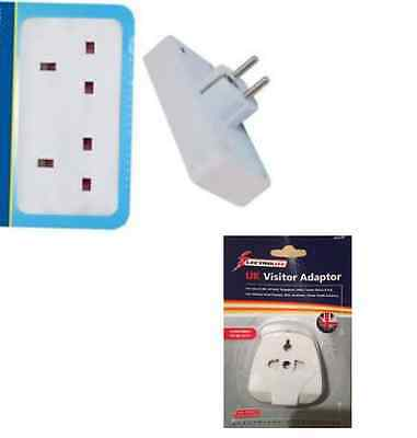 PLUG TRAVEL ADAPTER UK* 2 Way European Travel Electrical Socket Adaptor • 3.79£