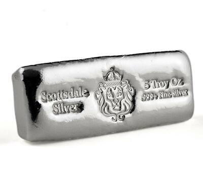 $ CDN196.35 • Buy 5 Oz Scottsdale Silver CAST Bullion Bar .999+ Silver Bar #A398
