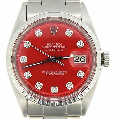 $ CDN5452.05 • Buy Rolex Datejust Men Stainless Steel Watch Oyster Style Band Red Diamond Dial 1603