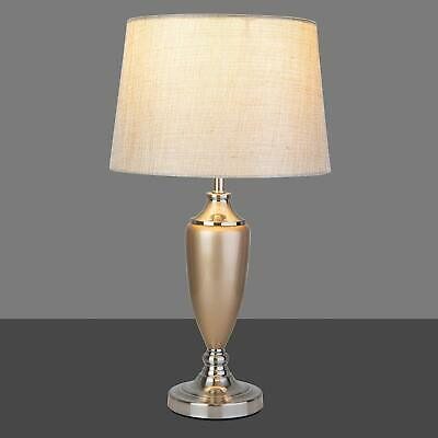 £34.99 • Buy Large Malham Champagne Gold And Silver Classic Ceramic Table Lamp And Shade