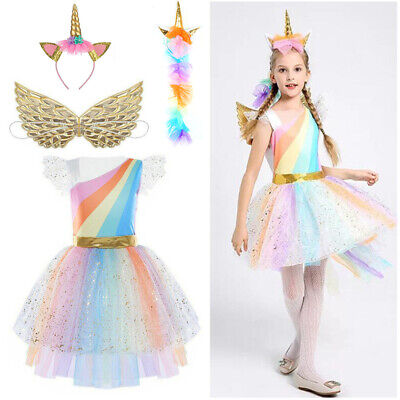 £11.35 • Buy Girls Kids Halloween Unicorn Costume Cosplay Fancy Dresses Party Princess Outfit