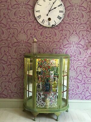 £245 • Buy Annie Sloan Painted Bloomsbury Style Glass Display / Cocktail Cabinet