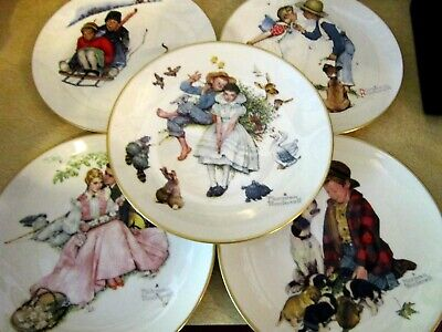 $ CDN15.11 • Buy Lot Of 5 Vintg 1970's Norman Rockwell Collector Plates- Excellent, No Orig Boxes