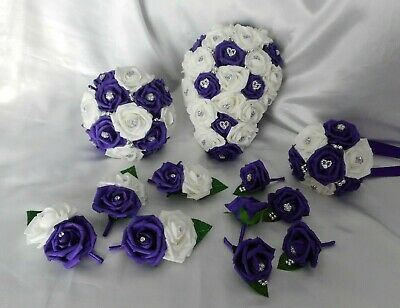 £70 • Buy Wedding Flowers Cadbury Purple & White Teardrop Bouquet Posy Buttonholes PACKAGE