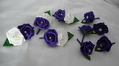 £19.50 • Buy Wedding Flowers Cadbury Purple & White Rose Groom Buttonholes Corsage Package