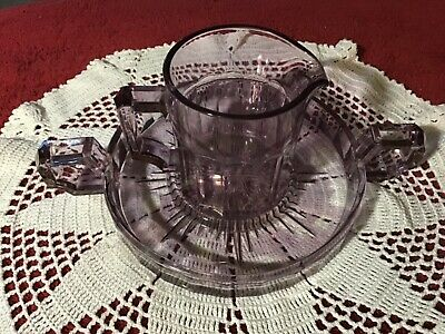 $32 • Buy Antique Purple Glass Pitcher & Tray: Pressed Glass: NO CHIPS