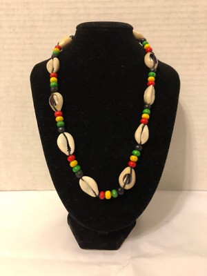 $7 • Buy Rasta Seashell Rope Neckalce Red Green Yellow Beads Black Rope African Style Car