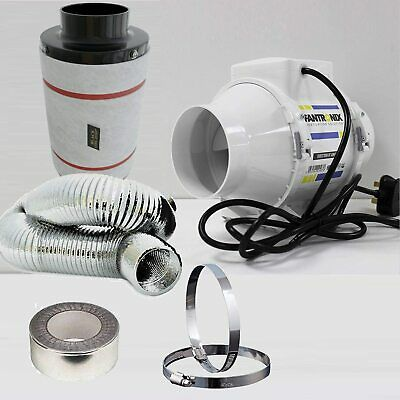 Carbon Filter Fan Kit Extractor Inline 4  5  Or 6  Grow Tent Set Hydroponics 100 • 45.99£