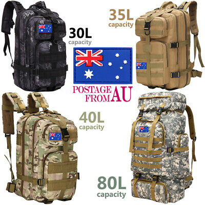 AU37.99 • Buy 30L/35L/40L/80L Outdoor Military Tactical Backpack Camping Hiking Bag Waterproof