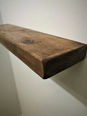 NEW CHUNKY RUSTIC FARMHOUSE SOLID WOOD FLOATING SHELF + FIXINGS- 14.5cm Deep • 26£