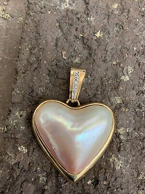 $399 • Buy 14K Yellow Gold Mabe Pearl Diamond Heart Pendent