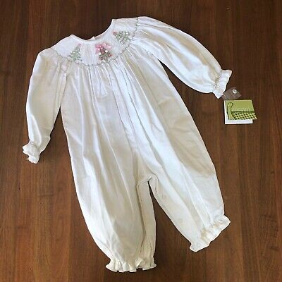 $20 • Buy NWT Zuccini Embroidered Christmas Tree One Piece Romper In Ivory Corduroy