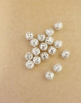 100 X Silver Round  Spacer Beads 6mm For Jewellery Making   • 2.69£
