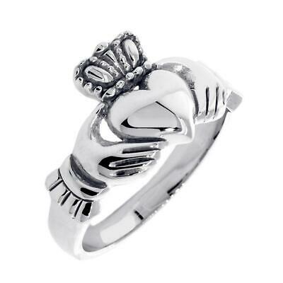 $630 • Buy Ladies Claddagh Wedding Ring In 14k White Gold