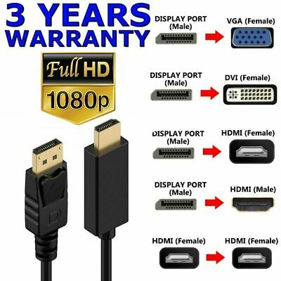 AU8.45 • Buy DisplayPort DP Male To VGA DVI HDMI Female Display Port Adapter Cable 1080P HDTV