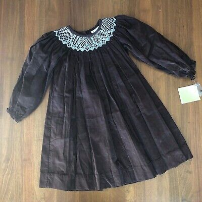 $20 • Buy NWT Zuccini Brown & Light Blue Embroidered Corduroy Long Sleeve Dress