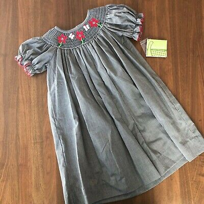$20 • Buy NWT Zuccini Black & White Gingham Short Sleeve Dress W/ Red Embroidered Flowers