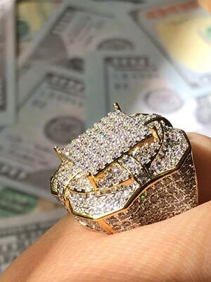 $39.99 • Buy Mens Ring Ice Ice Out 2.5ct Created Diamond 14k Gold Pinky Ring Size 6-10