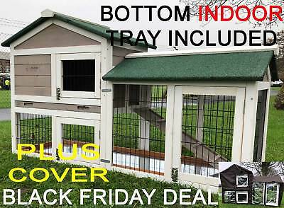 5ft Outdoor Rabbit Hutch Run 2 Two Wooden Guinea Pig Indoor Tray Cover Tray  • 169.99£