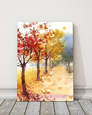 £23.95 • Buy Watercolour Of Colourful Autumn Trees Fallen Leaves Canvas Picture Print