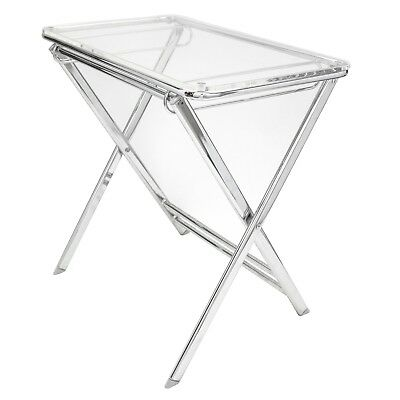$129 • Buy LeisureMod Victorian Clear Acrylic Foldable End Side Table Tray W/ Chrome Base