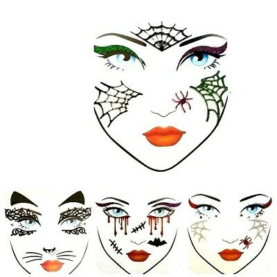 Halloween Face Gems Jewels Temporary Tattoo Party Face Stickers  • 3£