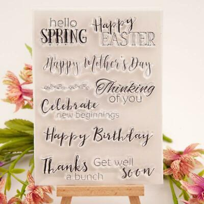 Happy Birthday Easter Silicone Clear Seal Stamp DIY Scrapbooking Embossing F • 2.79£