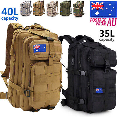 AU37.99 • Buy 40L Military Tactical Backpack Rucksack Hiking Camping Outdoor Trekking Army Bag