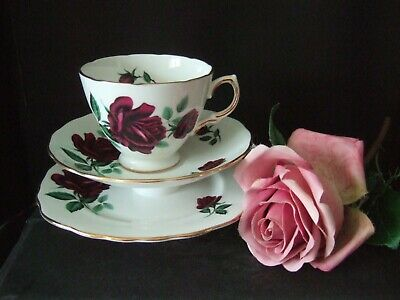 Vintage Royal Osborne  Bone China Trio - Cup Saucer & Plate 8117 Red  Roses • 4.99£