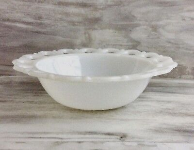 $12 • Buy Vintage White Milk Glass Lace Edge Serving Bowl Old Colony Anchor Hocking