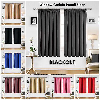 Pencil Pleat Insulated Thermal Blackout Small Window Curtain For Bedroom Kitchen • 17.99£