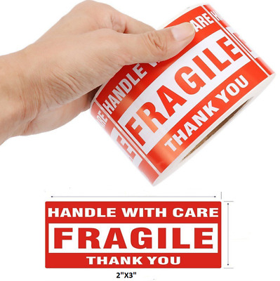$7.98 • Buy 500PCS 2 X3  Fragile Handle With Care Thank You Mailing Labels Self Adhesive