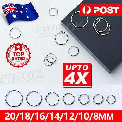 AU3.85 • Buy 925 Sterling Silver Solid Classic Hoop Ring Earrings Lip Ear Nose Body Piercing