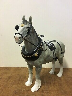 28cm Grey Standing Shire Horse Statue With Harness Ornament And Figurine • 50£