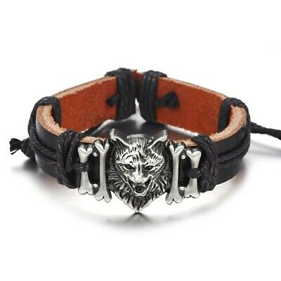 Black Leather Animal Bracelet ( Wolf Head) Adjustable. • 3.20£