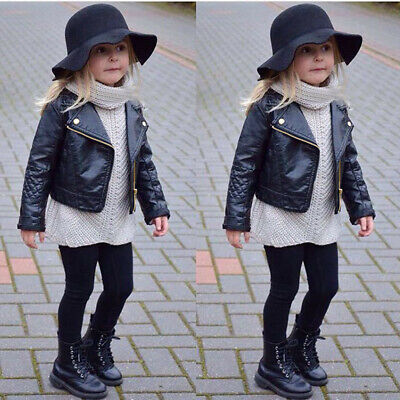 Toddler Kids Baby Girls Boys Autumn Winter Outwear PU Leather Coat Short Jacket • 15.86£