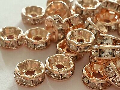 £2.45 • Buy 25 ROSE GOLD CLEAR RHINESTONE RONDELLE ROUND SPACER BEADS 8MM Jewellery Craft