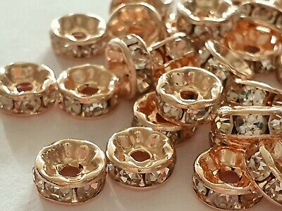 25 Rose Gold Clear Rhinestone Rondelle Spacer Beads 8mm • 2.45£
