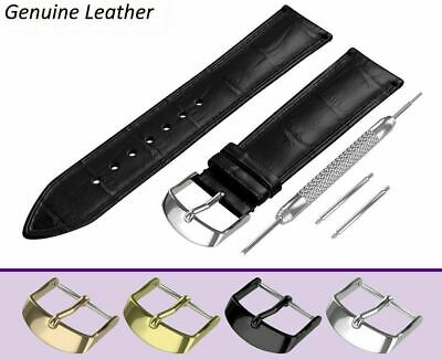 £6.95 • Buy 22mm For ACCURIST Black Genuine Leather Watch Strap Band Buckle Clasp Pins