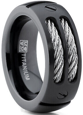 8MM Men's Black Titanium Ring Wedding Band With Stainless Steel Cables • 13.77£