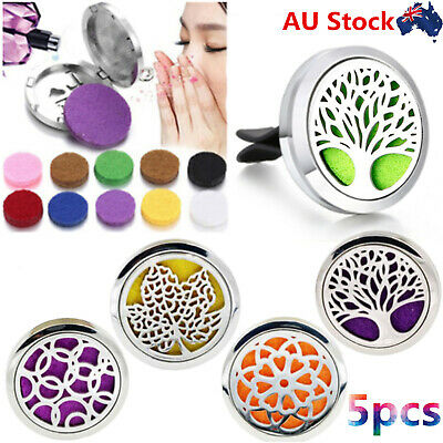 AU30.88 • Buy 5Pcs Essential Oil Diffuser Stainless Steel Car Air Vent Freshener Aromatherapy