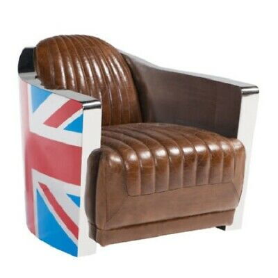 £939.50 • Buy Union Jack Aviator Retro Distressed Vintage Brown Real Leather Tub Chair
