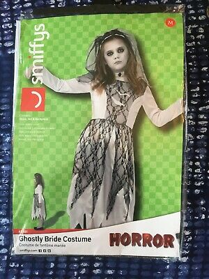 Kids Girls Ghostly Bride Ghoul Zombie Fancy Dress Halloween Costume Outfit • 7.95£