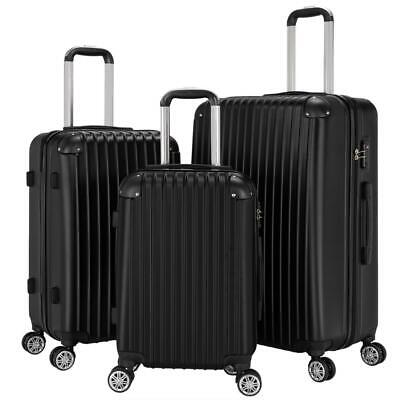 "View Details New 3Pcs Travel Luggage Bag ABS Trolley Spinner Suitcase TSA Lock 20""/24""/28"" • 76.99$"