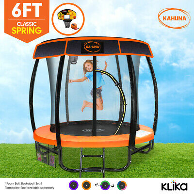 AU549 • Buy Kahuna 6ft Trampoline Free Safety Net Spring Pad Roof Cover Mat Basketball Set