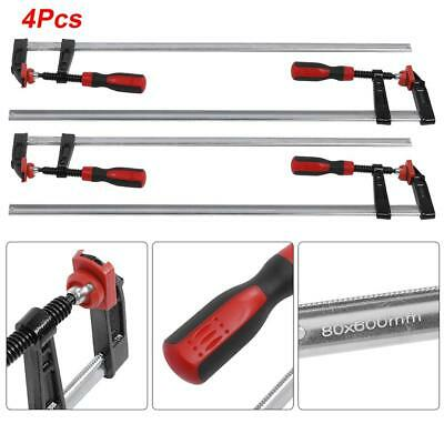 AU54.99 • Buy 4Pcs 80x 600mm F Clamps Woodworking Bar Clips Quick Slide Hand Tool