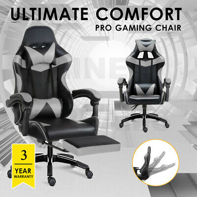AU139.99 • Buy Gaming Chair Office Computer Seating Racing PU Leather Executive Racer Grey