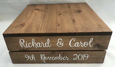 £30 • Buy Rustic Wooden Crate Wedding/Christening/Birthday Wood Cake Stand - Personalised