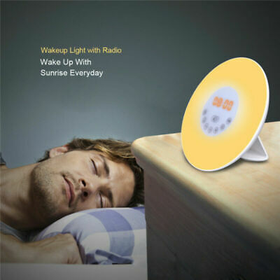 AU31.95 • Buy Wake-up LED Light Alarm Clock Sunrise FM Radio Bedside Sounds Night Colour Lamp