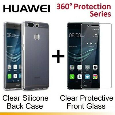CLEAR Tempered Glass Screen Protector / Back Gel Case For Huawei P8 Lite 2017 • 1.99£